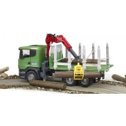 Zabawka Scania R z dźwigiem, przyczepą i pniami